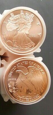 .999 Fine Copper Bullion Round Token Treasure Chest With A New One Ounce
