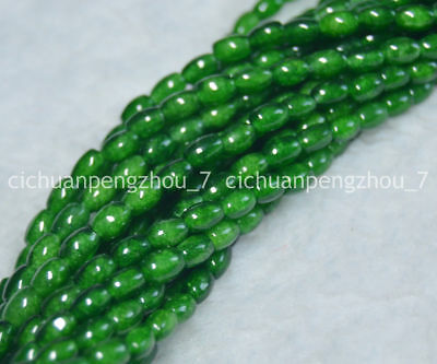 Natural 4x6mm Dark Green Chalcedony Agate Gems Rice-shaped Loose Beads 15''