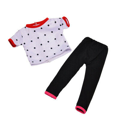 Lovely Dolls T-shirt Pants Set Outfits for 18'' American Doll My Life Doll Accs