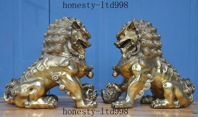 Collect Chinese brass fengshui Lion Foo dog guard beast Evil spirits statue pair