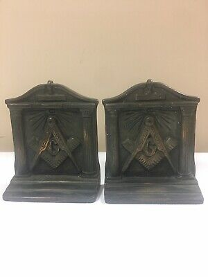 Pair of Vintage Solid Bronze Metal Masonic Bookends - Freemason G Logo
