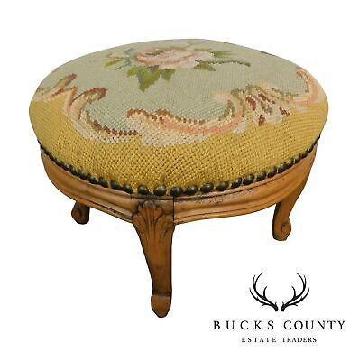 French Louis XV Style Antique Small Needlepoint Footstool