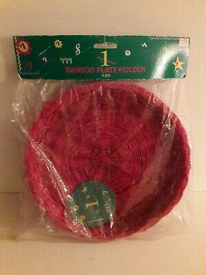 Vintage Bamboo Paper Plate Holders NEW Wicker Four Piece Set Pink Reusable Snack