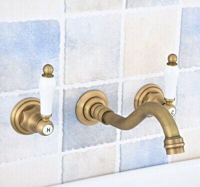 Antique Brass Wall Mount Bathroom Sink Faucet Tub Two Handles 3 Holes Tap fsf532