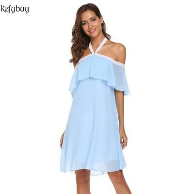 Women Fashion Halter Sleeveless Ruffle Solid Loose Dress KFBY 01