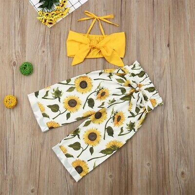 Toddler Kid Baby Girl Clothes Strap Tops+Stripe Long Pants Casual Outfits Set