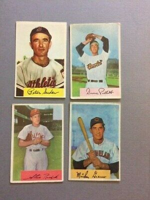 1954 Bowman Baseball Cards 4 Card Lot Grasso Pillette Ridzik And Suder