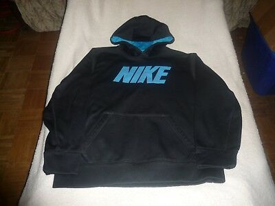 ed8ed9a814 Nike Therma-Fit Black & Blue Pullover Hoodie With Fleece Lining. Boys Size: