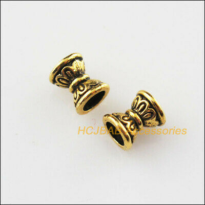 50Pcs Antiqued Gold Tone Flower Spacer Beads End Caps 6.5mm