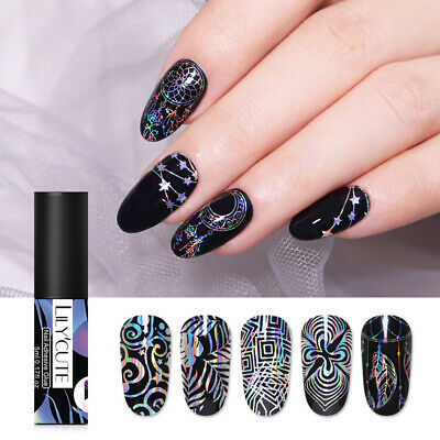 LILYCUTE 5ml Nail Adhesive Glue for Foil Transfer Decal Nail Art Decoration Tool