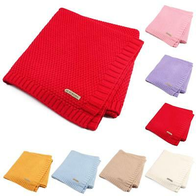Solid Cotton Knitted Baby Blanket Soft Warm Cover for Boys Girls Kids 7 Colors