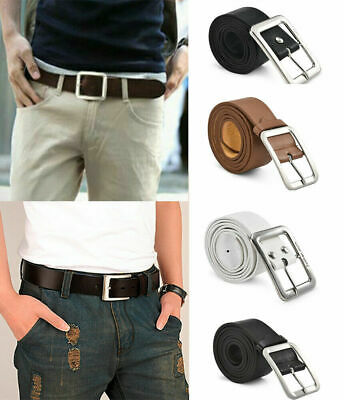 Men's Leather Waistband Casual Solid Belt Waist Strap Alloy Pin Buckle Belts