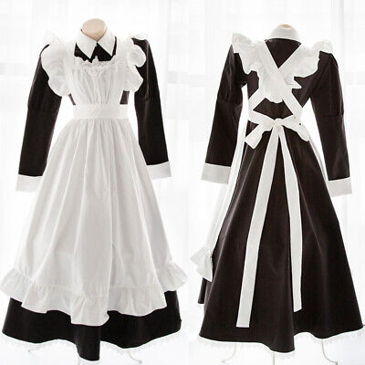 Japanese Women's Kawaii Maid Uniform Apron Long Dress Role Play Costume Black
