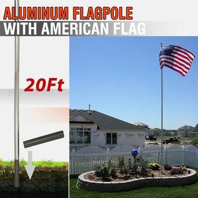 1PC US American Flag + 20ft Aluminum Sectional Flagpole Kit Outdoor Halyard Pole