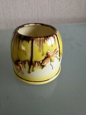 Ceramic Pot With Embossed Bees On It. Foreign