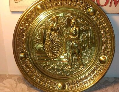 Vtg Embossed Brass Decorative Wall Plate/ Colonial Couple/ England