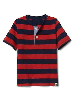 Baby GAP Rugby stripe slub henley Jersey t-shirt RED on Sale Tagged Price 12.95