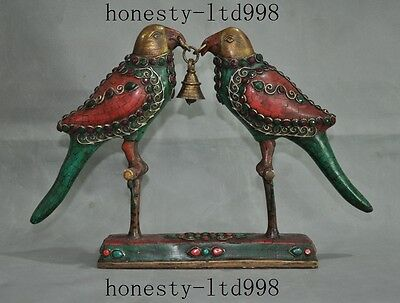 Old Tibet folk bronze inlay Turquoise coral Gem bell 2 birds love lucky statue