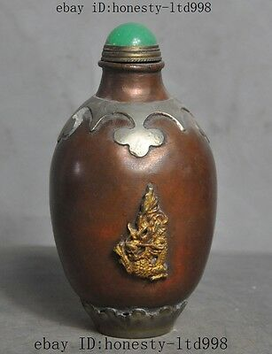 Marked Old Chinese Bronze copper Gilt Fengshui Dragon Lucky Statue Snuff Bottles