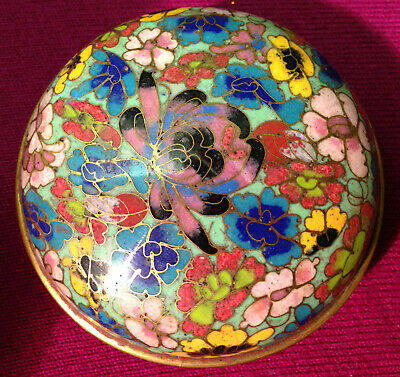 Chinese Vintage Cloisonne Covered Dish Richly Colored Excellent Quality