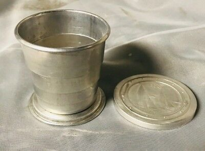 Vintage Aluminum Collapsible Drinking Cup - Nautical Sailboat Design