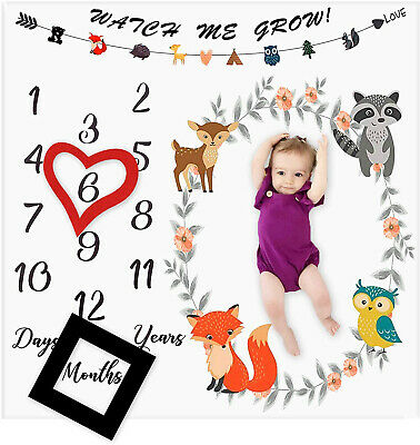 Baby Monthly Milestone Blanket Woodland Animals Personalized Photography Props