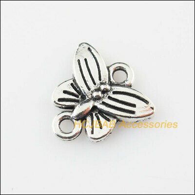 18Pcs Tibetan Silver Tone Animal Butterfly Charms Pendants Connectors 14mm