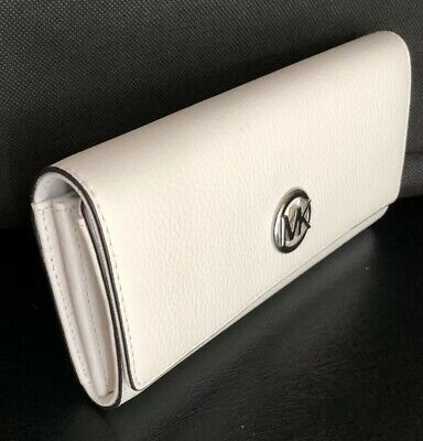 New Michael Kors Fulton Flap Continental wallet Leather Optic White / Silver