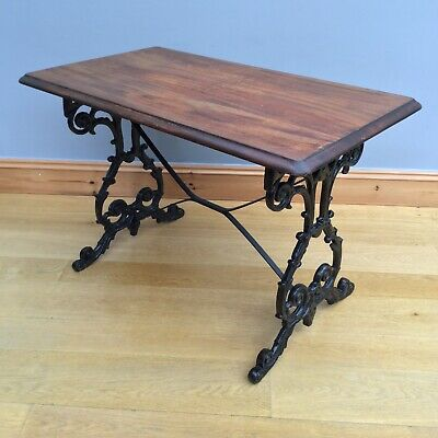 Antique Victorian Cast Iron Table Stretcher Mahogany Top Pub Patio Dining Desk