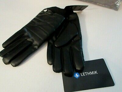 Warm Winter Full Finger Gloves Black Soft Synthetic Leather Plush Fleece Lined