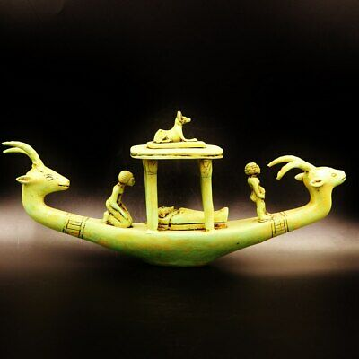 Antique Ancient Egyptian Funerary Goddesses Boat..Preparation for death.XX-LARGE