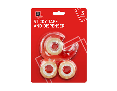 Plastic Tape Dispenser With Steel Cutter & Sticky Clear Tape 3 Rolls - 4 Piece