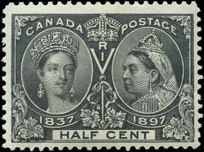 1897 Mint Canada 1/2c Scott #50 Diamond Jubilee Issue Stamp Hinged
