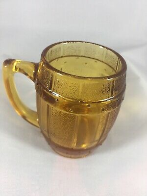 Vintage Amber Toned Barrel Mug Shot Glass Toothpick Holder