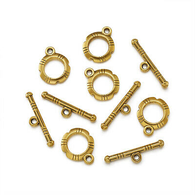 20 Set Tibetan Silver Toggle Clasps For DIY Jewelry Making Antique Golden