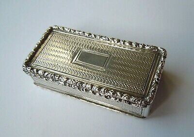 "Antique Georgian (1830) Sterling Silver B'ham Vinaigrette/ Box L: 2"" (31 Gm) Vgc"