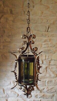 Vintage French Porch Light Stained Glass
