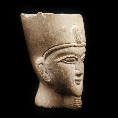 Amazing Ancient Egyptian Pharaoh Stone Bust Figure, Circa 664 - 332 BC