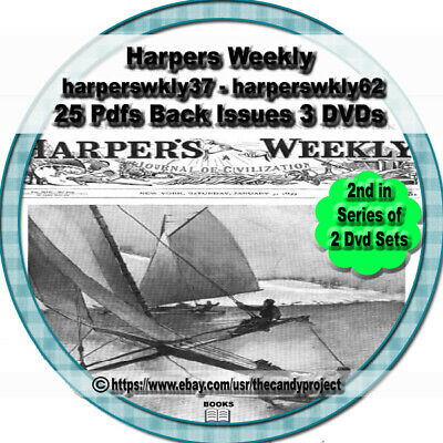 3 dvds Harpers Weekly American political  25 pdfs back issues 2nd in Series of 2