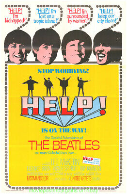 HELP ! THE  BEATLES MOVIE POSTER 27x41 Folded 1965 N.MINT REPRODUCTION ONE SHEET