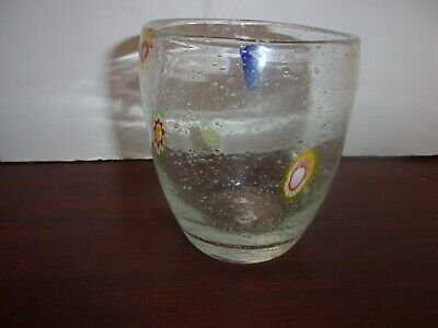 Murano Art Glass Millefiori Mottled Bubble Tumbler Low Boy