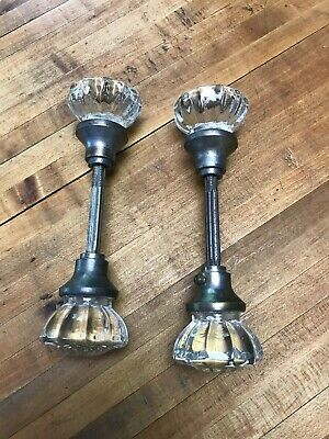2 Pair Vintage Antique Glass Door Knobs Set In Brass With spindle
