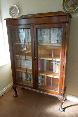 Vintage Antique glass front bookcase display cabinet 1930s - 1940s ED0625