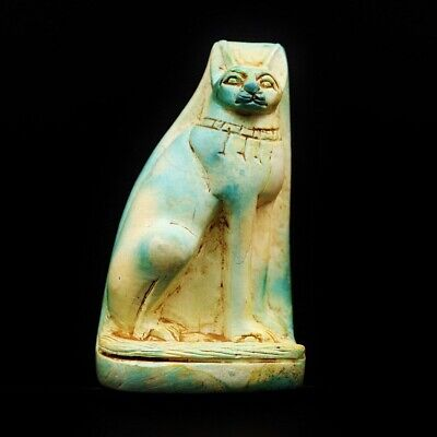 Rare UNIQUE Antique Ancient Egyptian Cat BES Faience Statue Figure..Large
