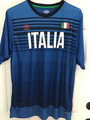 9daa2781 Umbro World Cup Soccer Italia Italy Mens Polyester Stripe Blue Shirt Size Xl