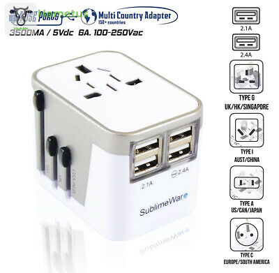 Power Plug Adapter - International Travel - w/USB Ports Work for 150+ White