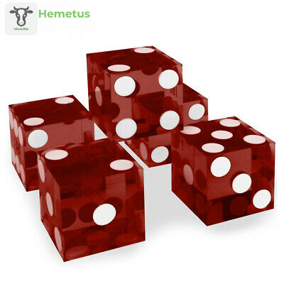 Set of 5 Grade AAA 19mm Casino Dice with Razor Edges and Matching Serial Red