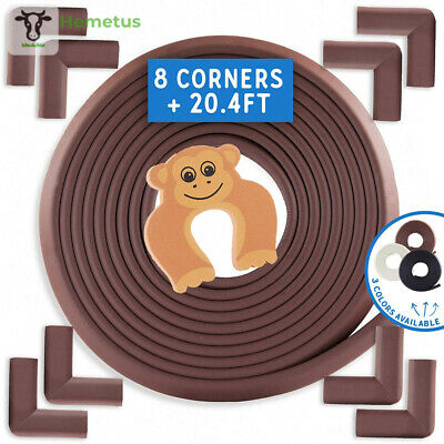 Baby Proofing Edge and Corner Guards: 10 Piece 20.4ft + 8Corners, Coffee