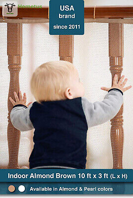 Roving Cove   Banister Guard   Baby Safety Stair Railing 10 x 3 Feet, Almond