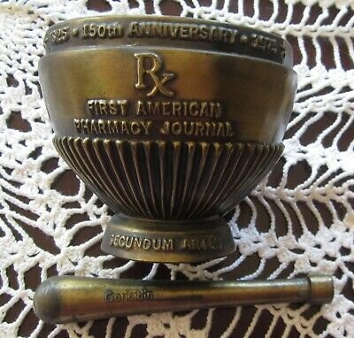 Brass 1975 RX MORTAR & PESTLE 150th Anniversary American Journal Of Pharmacy